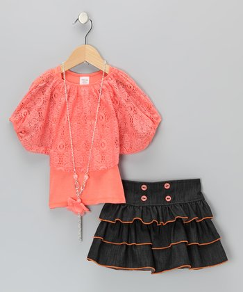 Coral Lace Tiered Ruffle Skirt Set - Infant, Toddler & Girls