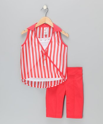 Coral Stripe Layered Tank & Capri Pants - Infant, Toddler & Girls
