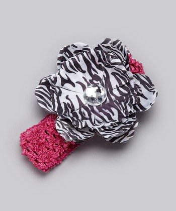 Dark Pink & Zebra Flower Headband