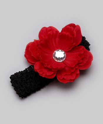 Black & Red Flower Headband