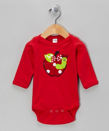 Red Apple Polka Dot Bow Bodysuit - Infant