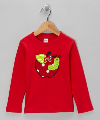 Red Apple Polka Dot Bow Tee - Toddler
