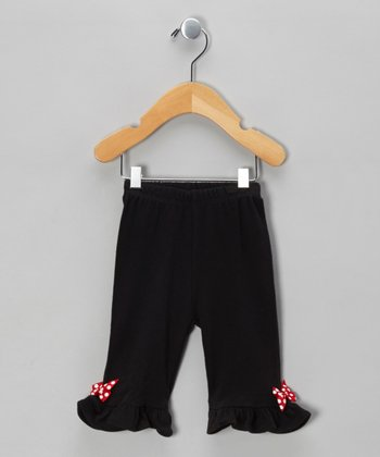 Black & Red Apple Polka Dot Bow Pants - Infant & Toddler