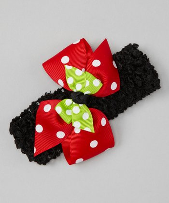 Black & Red Apple Polka Dot Crocheted Headband
