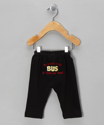 Black 'Wheels on the Bus' Pants - Infant & Toddler