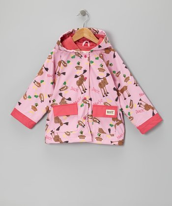 Pink 'Duck Duck Moose' Raincoat - Toddler & Kids