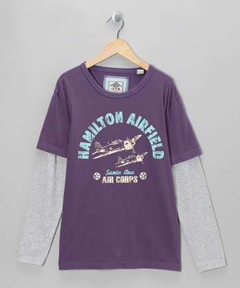 Purple 'Air Corps' Long-Sleeve Layered Tee - Boys