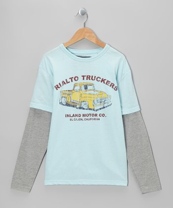 Faded Blue Truck Long-Sleeve Layered Tee - Boys