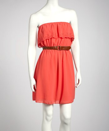 Coral Ruffle Belted Strapless Dress