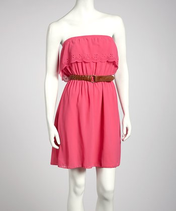 Fuchsia Ruffle Belted Strapless Dress