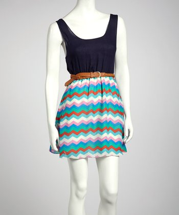 Navy Zigzag Belted Dress