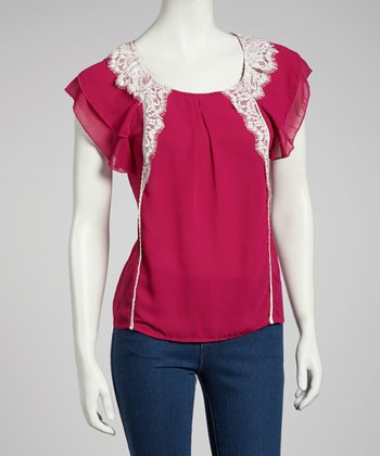 Fuchsia Lace Angel-Sleeve Top