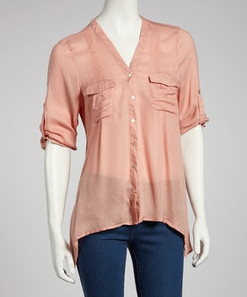 Pink Sheer Hi-Low Button-Up