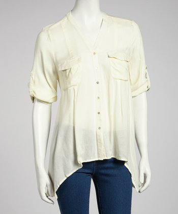 Cream Sheer Hi-Low Button-Up
