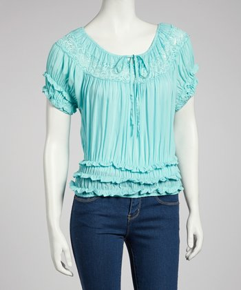 Blue Ruffle Peasant Top