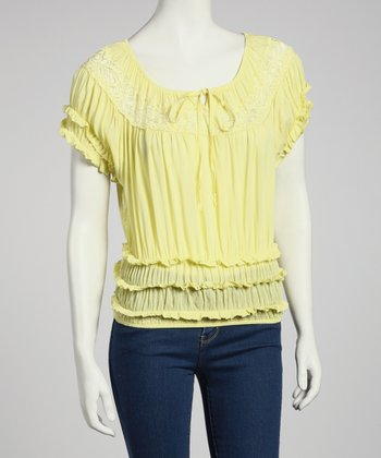 Yellow Ruffle Peasant Top