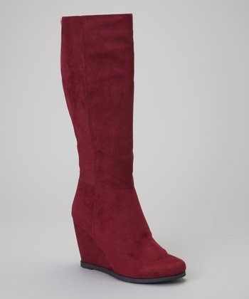 Burgundy Woody Wedge Boot