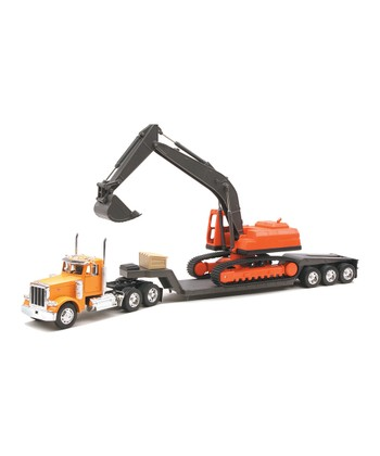 Peterbilt Lowboy Trailer & Backhoe Set