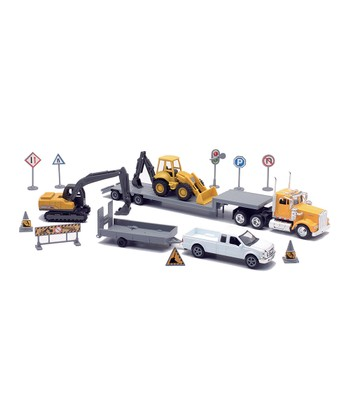 Kenworth Lowboy Construction Set With Loader & Excavator