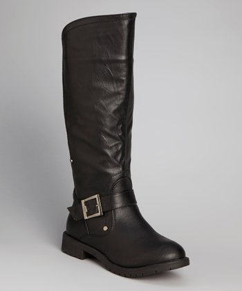 Black Buckle Slouch Boot