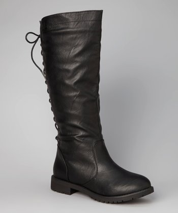 Black Lace-Up Boot