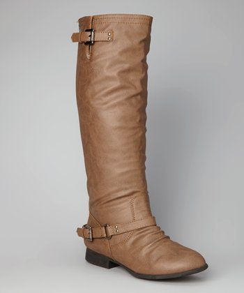 Cognac Double-Buckle Tall Boot