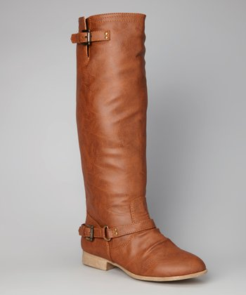 Tan Double-Buckle Tall Boot
