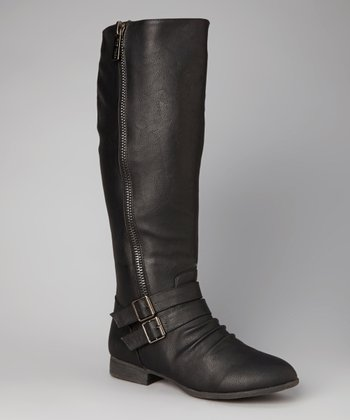 Black Buckle Zipper Boot