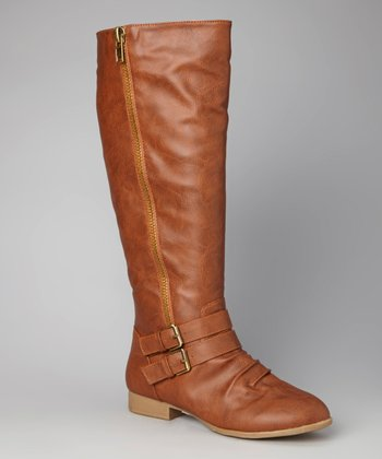 Tan Buckle Zipper Boot