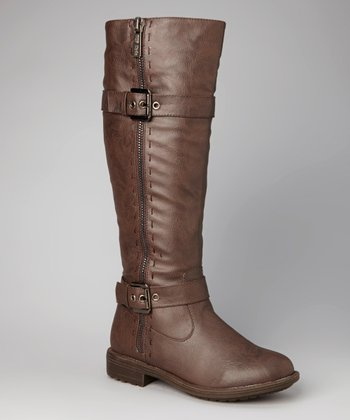 Brown Double-Buckle Zipper Boot