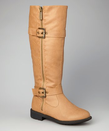Taupe Double-Buckle Zipper Boot