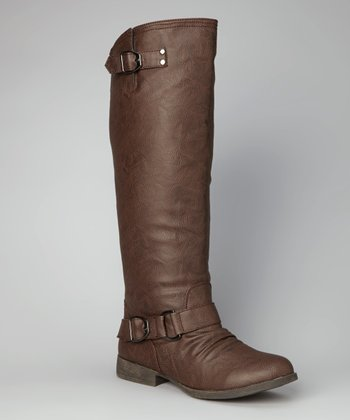 Brown Buckle Straight Boot