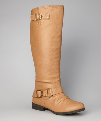 Taupe Buckle Straight Boot