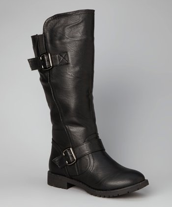 Black Double-Buckle Boot