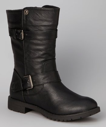 Black Double-Buckle Slouch Boot