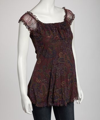 Dark Purple Paisley Maternity Short-Sleeve Top
