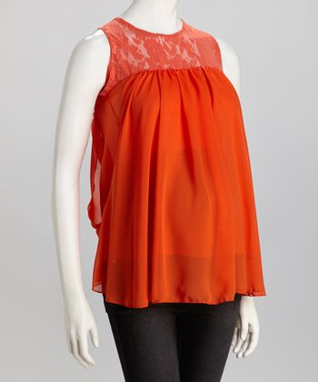 Orange Chiffon Lace Maternity Sleeveless Top