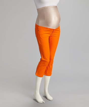 Orange Denim Over-Belly Maternity Capri Pants