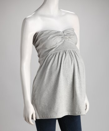 Gray Stripe Maternity Strapless Tunic
