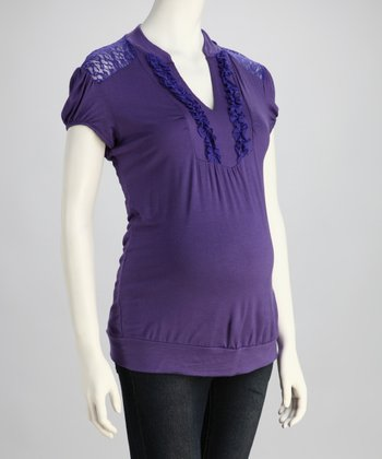 Purple Lace-Back Maternity Top