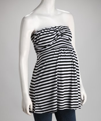 Black & White Stripe Tie-Back Maternity Strapless Tunic