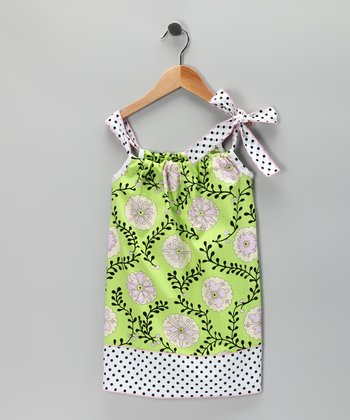 Green & Black Vine Shift Dress - Toddler & Girls