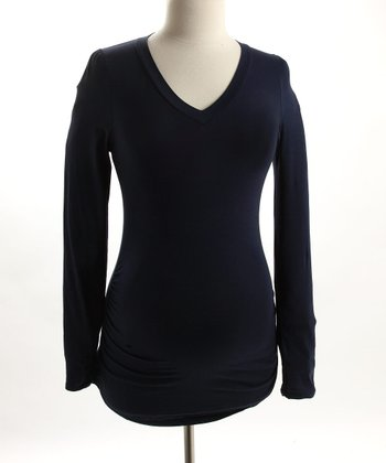 Navy V-Neck Jersey Shirt