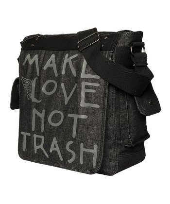 Black Denim Deejay Messenger Bag