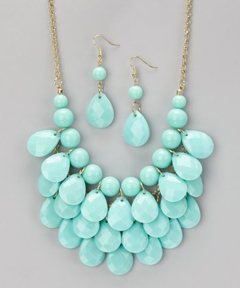 Aqua Waterdrop Necklace & Earrings