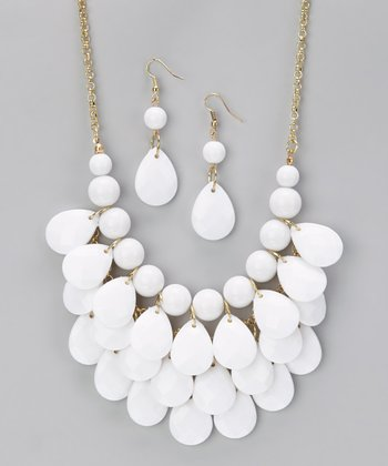 White Waterdrop Necklace & Earrings