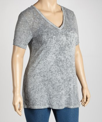 Titanium Burnout Short-Sleeve V-Neck Top - Women