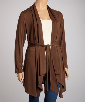 Brown Tie-Waist Open Cardigan - Plus