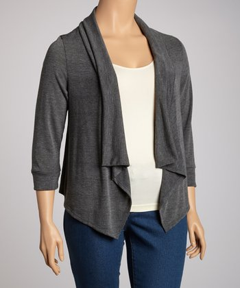 Charcoal Three-Quarter Sleeve Sidetail Open Cardigan - Plus