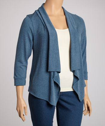 Blue Three-Quarter Sleeve Sidetail Open Cardigan - Plus